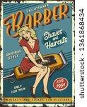 vintage barbershop poster with... | Shutterstock .eps vector #1361868434