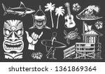 vintage surfing elements set... | Shutterstock .eps vector #1361869364