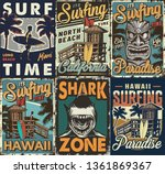 vintage colorful surfing... | Shutterstock .eps vector #1361869367