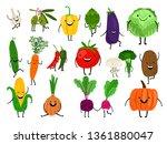 vegetables for kids. cartoon... | Shutterstock .eps vector #1361880047