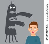 scared boy and fear monster... | Shutterstock .eps vector #1361880137