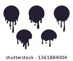 dripping circle paint. round... | Shutterstock .eps vector #1361884004