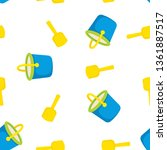 bucket and spade with sand... | Shutterstock .eps vector #1361887517