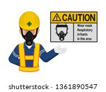 a worker with respiratory mask... | Shutterstock .eps vector #1361890547