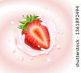 strawberry in milk or yogurt... | Shutterstock . vector #1361892494