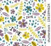 i love me  love yourself floral ... | Shutterstock .eps vector #1361894624
