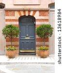old blue door in london with...   Shutterstock . vector #13618984