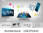 modern communication technology ... | Shutterstock .eps vector #136191641