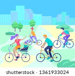 young woman and man ride the... | Shutterstock .eps vector #1361933024