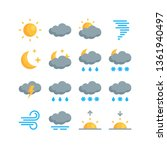 set of simple climate icons in...