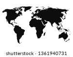 black world map  continents of... | Shutterstock .eps vector #1361940731