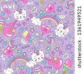 Cute Kitten Unicorn Pattern On...
