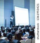 businesswoman explaining new... | Shutterstock . vector #1361953421