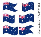 australian flag set  isolated... | Shutterstock .eps vector #1361981984