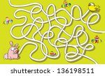 easter bunny and chicken maze... | Shutterstock . vector #136198511