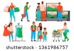 collection of people shopping.... | Shutterstock .eps vector #1361986757