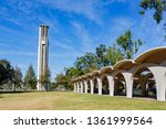 Afternoon sunny view of the Bell Tower of UC Riverside at California