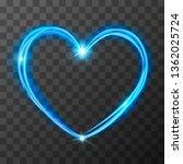 neon blurry love symbol  blue... | Shutterstock .eps vector #1362025724