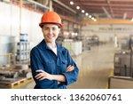 pretty young woman in helmet... | Shutterstock . vector #1362060761