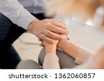 aged man holding hands of upset ... | Shutterstock . vector #1362060857