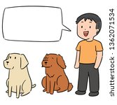 vector set of man and dog | Shutterstock .eps vector #1362071534