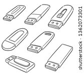vector set of usb flash drive | Shutterstock .eps vector #1362073301