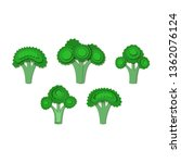 set of green broccoli paper cut ... | Shutterstock .eps vector #1362076124