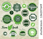 collection green vector labels  ... | Shutterstock .eps vector #136207649