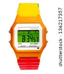 Digital Wristwatch Isolated On...