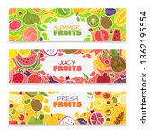 fruits banners. colorful fruit... | Shutterstock .eps vector #1362195554