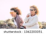 two playful happy cheerful... | Shutterstock . vector #1362203351