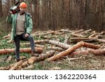 logging  worker in a protective ... | Shutterstock . vector #1362220364