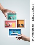 people holding miniature office ... | Shutterstock . vector #1362222617