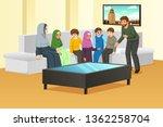 a vector illustration of happy... | Shutterstock .eps vector #1362258704