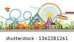 amusement park  carousel swing  ... | Shutterstock .eps vector #1362281261