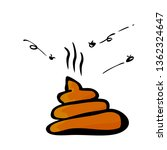 Vector Very Simple Flat Brown Hand Draw Sketch Poop with fly