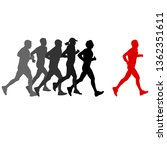 set of silhouettes. runners on... | Shutterstock . vector #1362351611