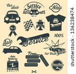 vintage car labels and icons   Shutterstock .eps vector #136238474