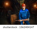 miner with a jackhammer sitting ... | Shutterstock . vector #1362404147
