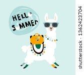 llama alpaca. hello summer card.... | Shutterstock .eps vector #1362423704