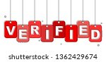 red flat line tag verified | Shutterstock .eps vector #1362429674
