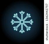 snowflake neon glow icon....