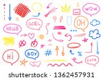 hand drawn colored signs on... | Shutterstock . vector #1362457931