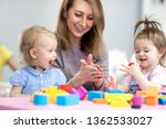 Cute Woman And Kids Girls With...
