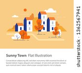 cozy town  row of houses by the ... | Shutterstock .eps vector #1362567941