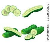 cucumbers in cartoon style set. ... | Shutterstock .eps vector #1362570077