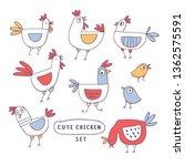 cute cartoon rooster  chicken... | Shutterstock .eps vector #1362575591