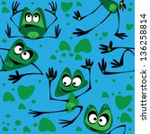 frog seamless on blue background | Shutterstock . vector #136258814