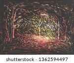 trees  night  light lanterns... | Shutterstock . vector #1362594497