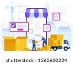 delivery service concept. truck ... | Shutterstock .eps vector #1362600224